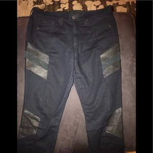 Rag & Bone black skinny jeans with leather patches